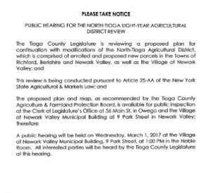 Public Hearing - North-Tioga Ag. District Review