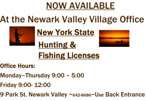 Village of newark valley for Fishing license nevada